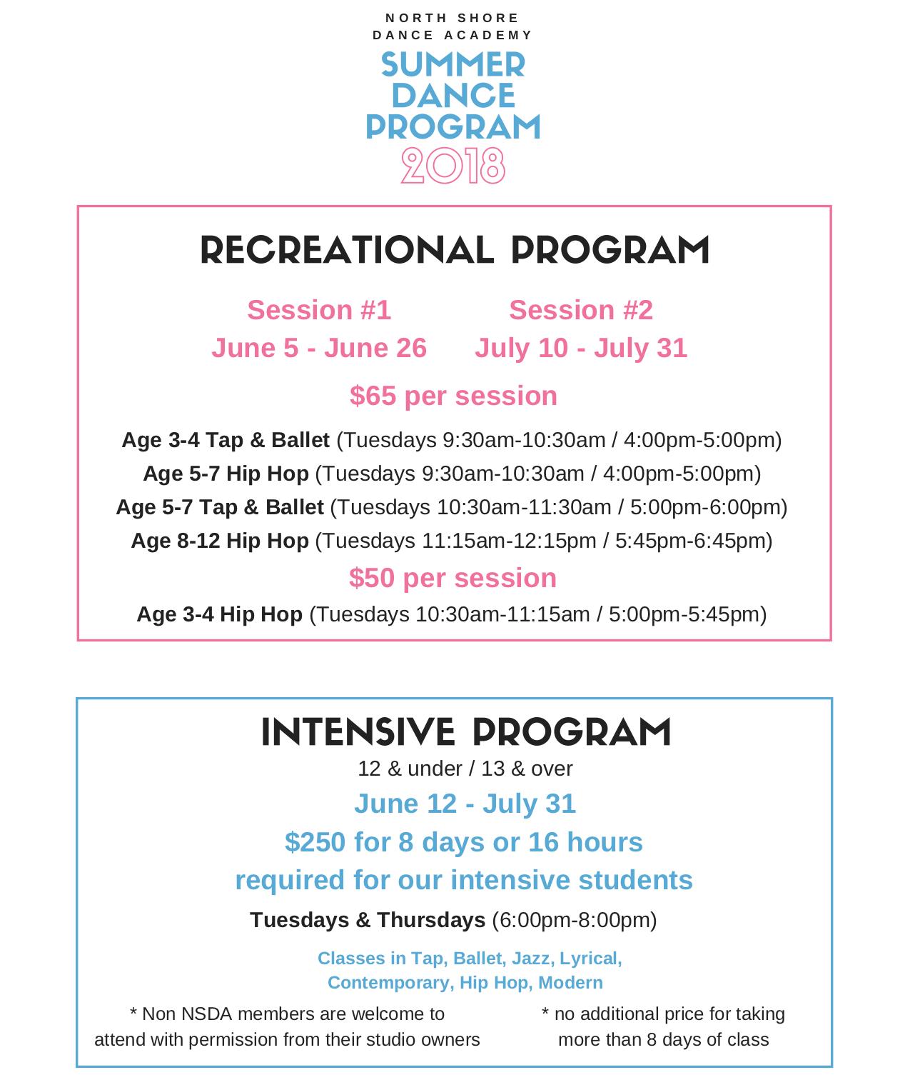 Summer Dance program-2018